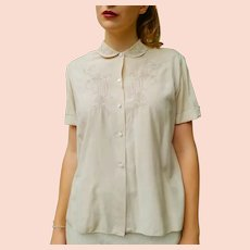 AUTHENTIC 50S/1950s Vintage Ecru EMBROIDERED retro blouse top shirt
