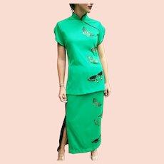 """RARE 2-piece! Vintage 70s MISS SHAHEEN """"Asian Butterfly"""" Top/Maxi Skirt Dress"""