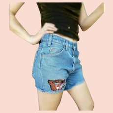 RARE! Vintage 90s CACHE Upcycled High-Waisted LEVI'S Cutoff Shorts denim Jeans