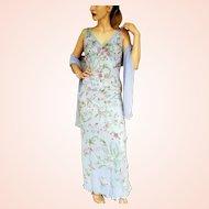 """DIANE FREIS' Own 1990s Vintage! NWT $900 Beaded SILK """"3-D Lace"""" Maxi Dress"""