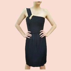 """Fashion History: Vintage 1970s ST GILLIAN KAY UNGER 1-Shoulder """"Toga"""" LBD Dress"""