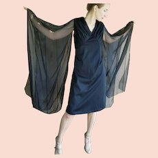 A La Stevie Nicks! Vintage 1970s goth glam Angel-Wing Cocktail LBD Dress