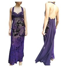 DIANE FREIS' Own Vintage! NWT $990 Velvet Silk Halter Gown Dress -With TRAIN!