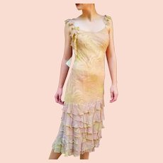 DIANE FREIS' Own Vintage: $470 Hand-Beaded Silk boho sparkly FLAPPER Dress