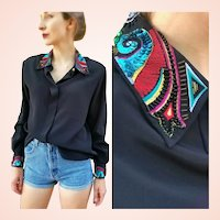 Vintage 1980s KAREN SCOTT Beaded Sequin oversized festival Avant Garde Blouse Top