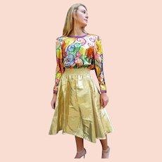DIANE FREIS' Own Vintage!   1980s NWT $550 Silk Gold Foil festival gypsy boho Dress