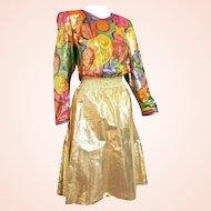 DIANE FREIS' Own Vintage!  1980s NWT $550 Gold Foil SILK boho beaded Dress