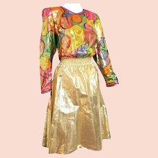DIANE FREIS' Own Vintage!  1980s NWT $550 Gold Foil SILK boho beaded Dress