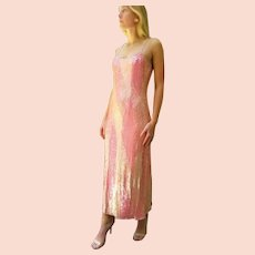 "DIANE FREIS' OWN Vintage!  NWT $990 ""India Silk"" Ombre Sequin Gown Dress"