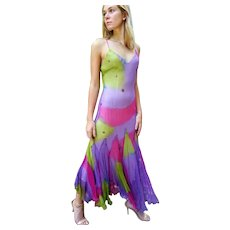 "DIANE FREIS' OWN Vintage!  NWT $600 ""UNICORN Silk"" Cocktail gypsy festival maxi Dress"