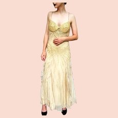 DIANE FREIS' Own Vintage!  $990 NWT Gold Sequin COUTURE Evening Gown Dress
