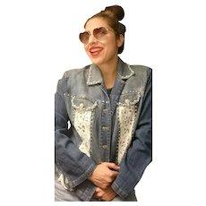 Vintage 1980s BEREK Lace/Beaded/Rhinestone Denim Jacket