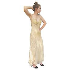 DIANE FREIS' Own Vintage!  $1500 NWT Gold Sequin COUTURE Evening Gown Dress