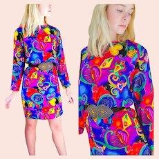 Vintage 1980s Bold ART NOUVEAU Colorful Silk Tunic Dress +BELT