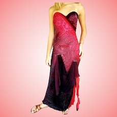 DIANE FREIS' OWN Vintage Collection! NWT $775 Silk HAND BEADED Gown Dress  - Strapless or Not