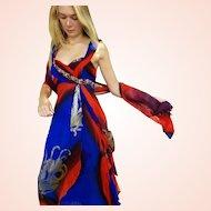 DIANE FREIS' Own Vintage Collection! NWT $990 Silk Chiffon/GOLD PAINT Splatter Gown Dress