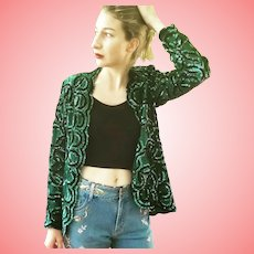Vintage 1980s NITELINE BY Della Roufogali Green Sequin Cocktail/Evening Jacket Coat