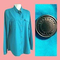 UNISEX BURBERRY BRIT Vintage 1990s mens/womens Logo Button Shirt/Top