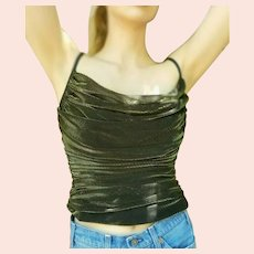 Vintage 1990s JOSEPH RIBKOFF Metallic Gold CROP Top Blouse