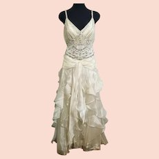 NWT DIANE FREIS Vintage Pearl White Wedding/Bridal/Formal Dress