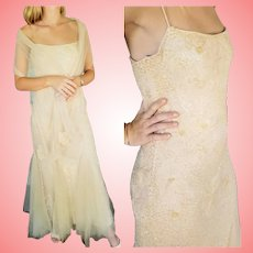 NWT $600 DIANE FREIS Vintage Ivory Beaded Wedding or Formal Gown
