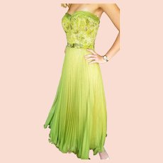 NWT Vintage DIANE FREIS $700 Chartreuse Beaded Dress/Gown