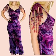 NWT Vintage DIANE FREIS $1000 Purple Fringe Velvet formal/maxi/mother of the bride Dress