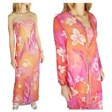 NWT Vintage DIANE FREIS $700 Strapless Maxi/Tunic Jacket Formal or Mother of the Bride Dress