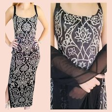 NWT Vintage DIANE FREIS $850 Art Deco motif Beaded Silk Column Dress