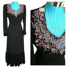 Vintage 1940s FILM NOIR Black Beaded rayon crepe WW2 era Dress