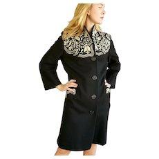 Vintage 1940s GERMANY Black Felt Embroidered FROCK Coat