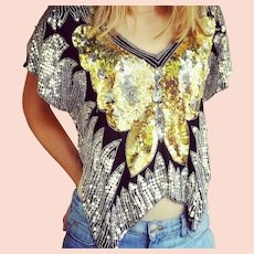 """Vintage 1980s ORLET'S Sequin Beaded deco trophy """"Butterfly Top"""" Blouse"""