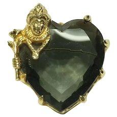 "RARE!  Vintage 1950s BENEDIKT ""Queen of Hearts"" smokey grey Glass Brooch/Pin"