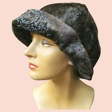 Vintage 1920s Beaded SEALSKIN Seal Skin Fur FLAPPER Cloche Hat -- Extremely Rare