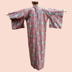 UNUSED Vintage 1940s Japanese Meisen Onsen NOVELTY print Kimono WOVEN SILK  60x53
