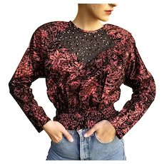 UNUSED 1980s Vintage $495 DIANE FREIS Velvet Sequin boho Top Blouse