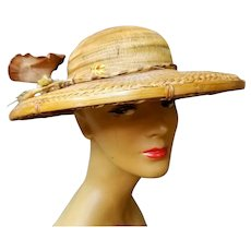 "EXQUISITE, Rare Vintage 1940s Genuine BAMBOO ""Old Hollywood"" Large-Brim Hat"