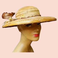 """EXQUISITE, Rare Vintage 1940s Genuine BAMBOO """"Old Hollywood"""" Large-Brim Hat"""