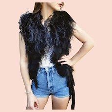 DIANE FREIS Couture NWT Vintage $600+ Black OSTRICH & Maribou Feather Vest Jacket