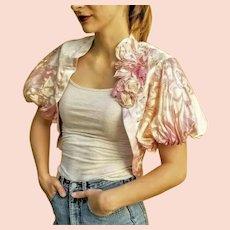 DIANE FREIS NWT Vintage $250 Pink BEADED SILK Mother of the Bride Bolero Jacket