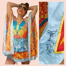 "Resort/Cruise Wear~  $395 DIANE FREIS NWT Vintage 1990s SIGNED Silk ""Baroque Scarf"" Tunic Cover-Up"