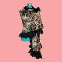 DIANE FREIS NWT Vintage $250 Ruffled Animal Print LACE Pashmina Wrap Scarf