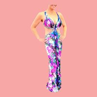 """DIANE FREIS Couture NWT Dress!  $600 Silk/Rayon BEADED Sexy """"Cut-Out"""" Vintage Runway piece"""