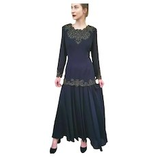 "NWT $550 DIANE FREIS Vintage 1980s Black ""Flapper"" Beaded Boho Dress"