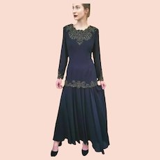 "NWT $550 DIANE FREIS Vintage 1980s Black ""Flapper"" Beaded Boho Dress"