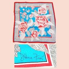 NWT $390 DIANE FREIS Vintage 1980s Silk Square Scarf -- Signed~