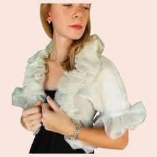 NWT $250 Vintage DIANE FREIS Puffy Sleeve Organza Bolero Jacket/Shrug