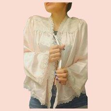 Vintage 1970s CHRISTIAN DIOR for SAK's 5th Avenue Pink Satin/LACE Lingerie Bed Jacket