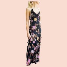 FALL TREND Alert: Dark Florals!  Vintage $600 NWT Diane Freis bias-cut Silk Ruffled Beaded Maxi Dress