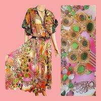 Collectible!  NWT Vintage DIANE FREIS $600 Baroque print Boho Dress